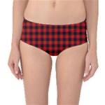 Lumberjack Plaid Fabric Pattern Red Black Mid-Waist Bikini Bottoms
