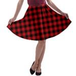 Lumberjack Plaid Fabric Pattern Red Black A-line Skater Skirt
