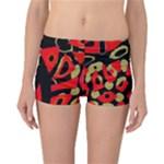 Red artistic design Reversible Boyleg Bikini Bottoms
