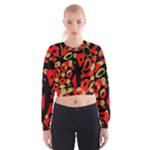 Red artistic design Women s Cropped Sweatshirt