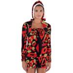 Red artistic design Women s Long Sleeve Hooded T-shirt