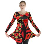 Red artistic design Long Sleeve Tunic