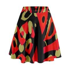 Red artistic design High Waist Skirt by Valentinaart