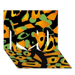Abstract Animal Print I Love You 3d Greeting Card (7x5) by Valentinaart