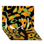 Abstract animal print I Love You 3D Greeting Card (7x5)