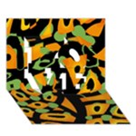 Abstract animal print LOVE 3D Greeting Card (7x5)