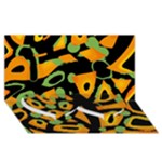 Abstract animal print Twin Heart Bottom 3D Greeting Card (8x4)