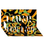 Abstract animal print Laugh Live Love 3D Greeting Card (8x4)