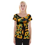 Abstract animal print Women s Cap Sleeve Top