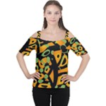 Abstract animal print Women s Cutout Shoulder Tee