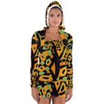Abstract animal print Women s Long Sleeve Hooded T-shirt
