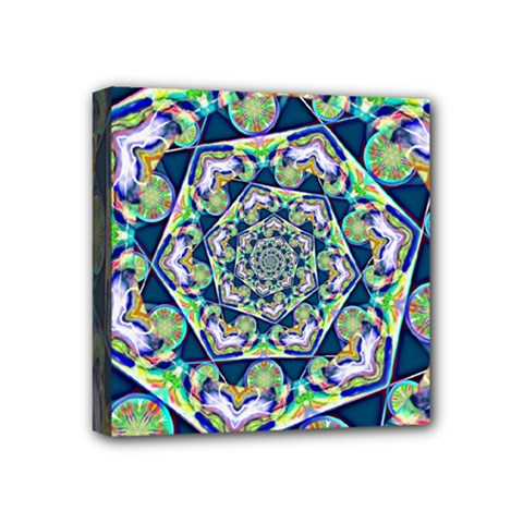 Power Spiral Polygon Blue Green White Mini Canvas 4  X 4  by EDDArt