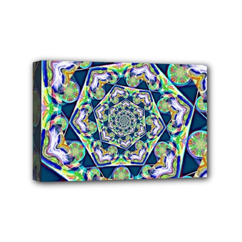 Power Spiral Polygon Blue Green White Mini Canvas 6  X 4  by EDDArt