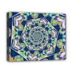 Power Spiral Polygon Blue Green White Canvas 10  x 8