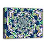 Power Spiral Polygon Blue Green White Canvas 16  x 12