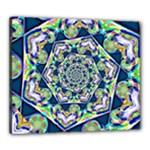 Power Spiral Polygon Blue Green White Canvas 24  x 20