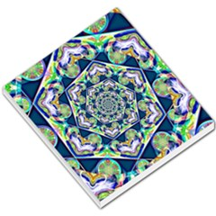Power Spiral Polygon Blue Green White Small Memo Pads by EDDArt