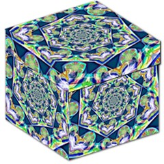 Power Spiral Polygon Blue Green White Storage Stool 12   by EDDArt