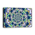 Power Spiral Polygon Blue Green White Deluxe Canvas 18  x 12