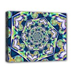 Power Spiral Polygon Blue Green White Deluxe Canvas 20  x 16