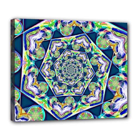 Power Spiral Polygon Blue Green White Deluxe Canvas 24  X 20   by EDDArt
