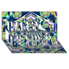 Power Spiral Polygon Blue Green White Happy Birthday 3d Greeting Card (8x4) by EDDArt