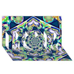 Power Spiral Polygon Blue Green White Mom 3d Greeting Card (8x4) by EDDArt
