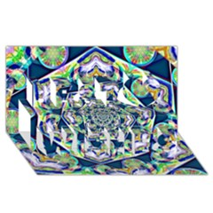 Power Spiral Polygon Blue Green White Best Wish 3d Greeting Card (8x4) by EDDArt