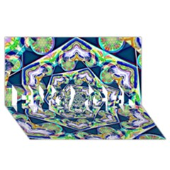 Power Spiral Polygon Blue Green White Engaged 3d Greeting Card (8x4) by EDDArt