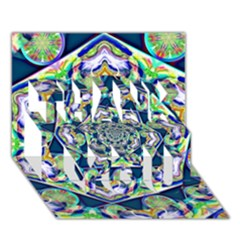 Power Spiral Polygon Blue Green White Thank You 3d Greeting Card (7x5) by EDDArt