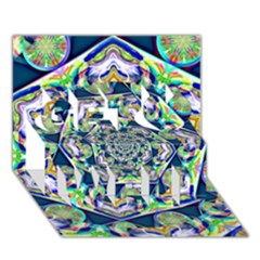 Power Spiral Polygon Blue Green White Get Well 3d Greeting Card (7x5) by EDDArt