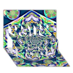 Power Spiral Polygon Blue Green White You Rock 3d Greeting Card (7x5) by EDDArt