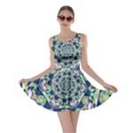 Power Spiral Polygon Blue Green White Skater Dress