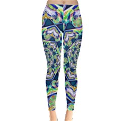 Power Spiral Polygon Blue Green White Leggings  by EDDArt