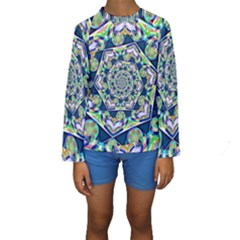 Power Spiral Polygon Blue Green White Kids  Long Sleeve Swimwear by EDDArt