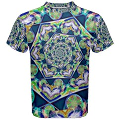 Power Spiral Polygon Blue Green White Men s Cotton Tee by EDDArt