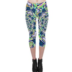 Power Spiral Polygon Blue Green White Capri Leggings  by EDDArt