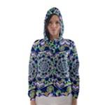 Power Spiral Polygon Blue Green White Hooded Wind Breaker (Women)