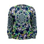 Power Spiral Polygon Blue Green White Women s Sweatshirt