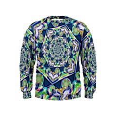 Power Spiral Polygon Blue Green White Kids  Sweatshirt by EDDArt