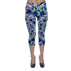 Power Spiral Polygon Blue Green White Capri Winter Leggings  by EDDArt