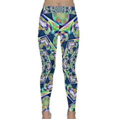 Power Spiral Polygon Blue Green White Yoga Leggings  by EDDArt