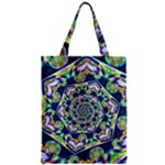 Power Spiral Polygon Blue Green White Zipper Classic Tote Bag