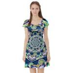 Power Spiral Polygon Blue Green White Short Sleeve Skater Dress