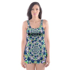 Power Spiral Polygon Blue Green White Skater Dress Swimsuit by EDDArt