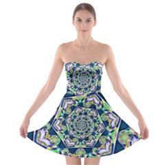 Power Spiral Polygon Blue Green White Strapless Bra Top Dress by EDDArt
