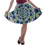 Power Spiral Polygon Blue Green White A-line Skater Skirt