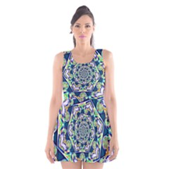Power Spiral Polygon Blue Green White Scoop Neck Skater Dress by EDDArt