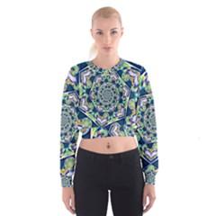 Power Spiral Polygon Blue Green White Women s Cropped Sweatshirt by EDDArt