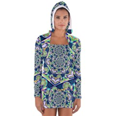 Power Spiral Polygon Blue Green White Women s Long Sleeve Hooded T Shirt by EDDArt